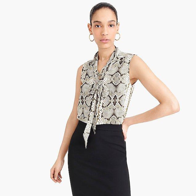 J.Crew: Drapey tie-neck sleeveless top in snakeskin print