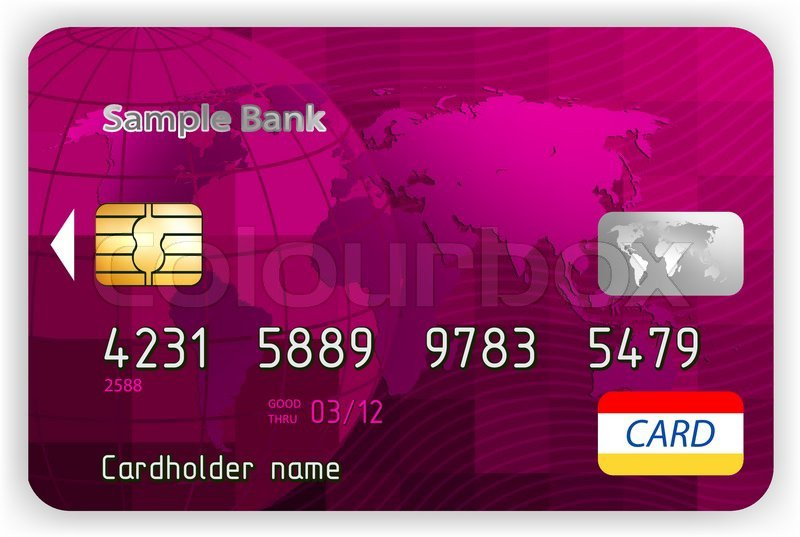 Vector purple credit cards, front view   Stock Vector   Colourbox