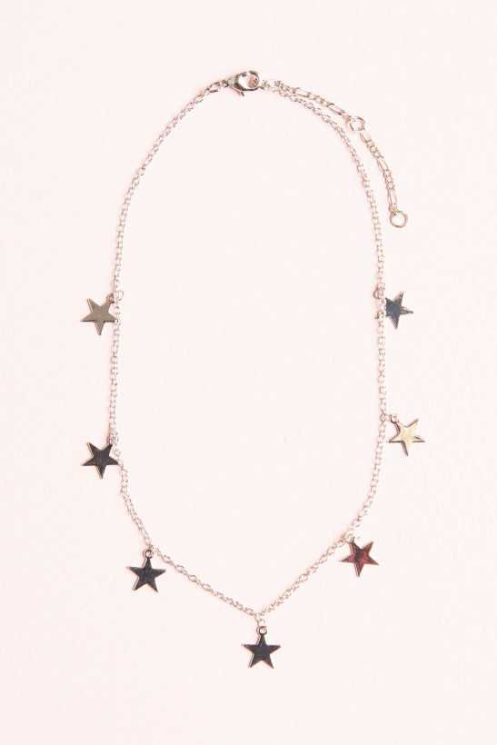 Silver Stars Charm Necklace - Accessories