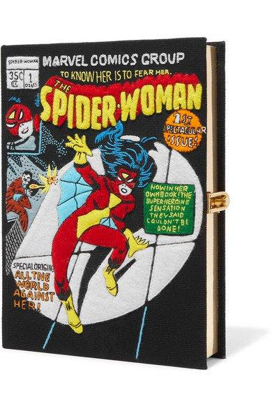 OLYMPIA LE-TAN Spider-Woman appliquéd cotton-canvas clutch