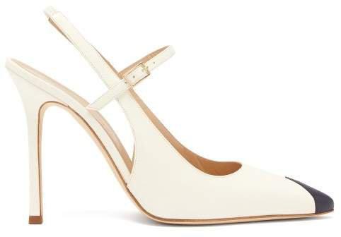 Toe Panel Leather Slingback Pumps - Womens - White