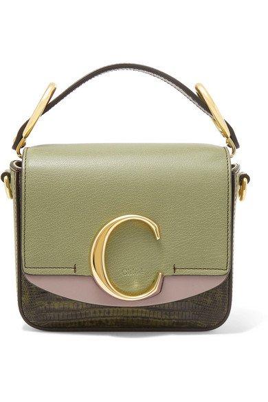 Chloé   Chloé C mini color-block lizard-effect leather shoulder bag   NET-A-PORTER.COM
