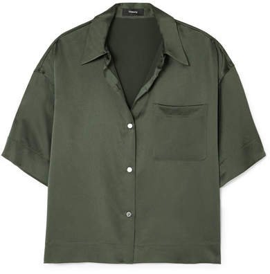 Cropped Washed-silk Shirt - Dark green