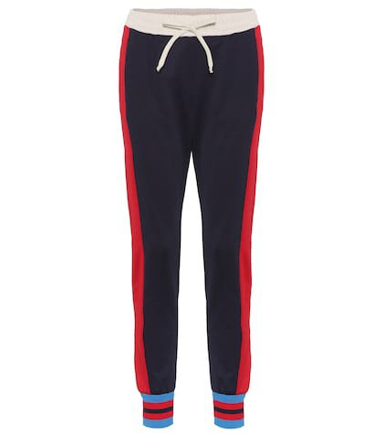 Striped cotton-blend trackpants