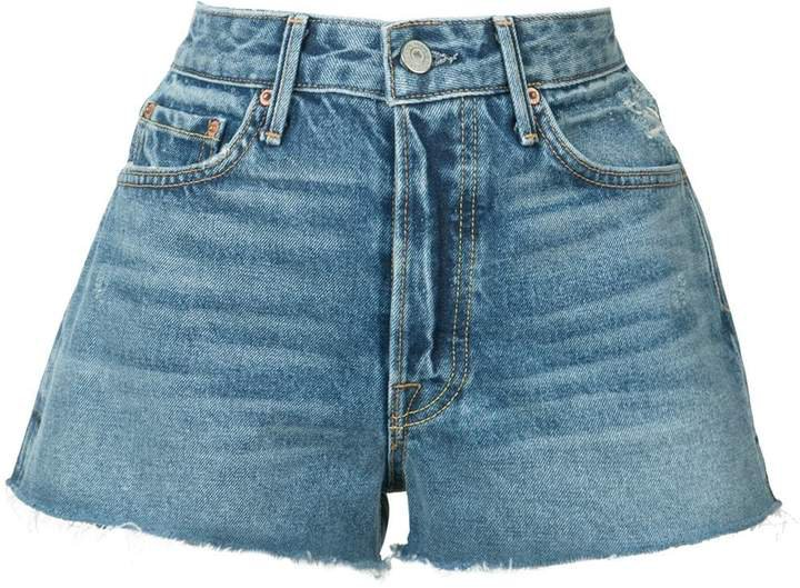 frayed mini denim shorts
