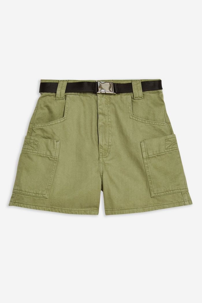 Sage Utility Denim Shorts | Topshop green