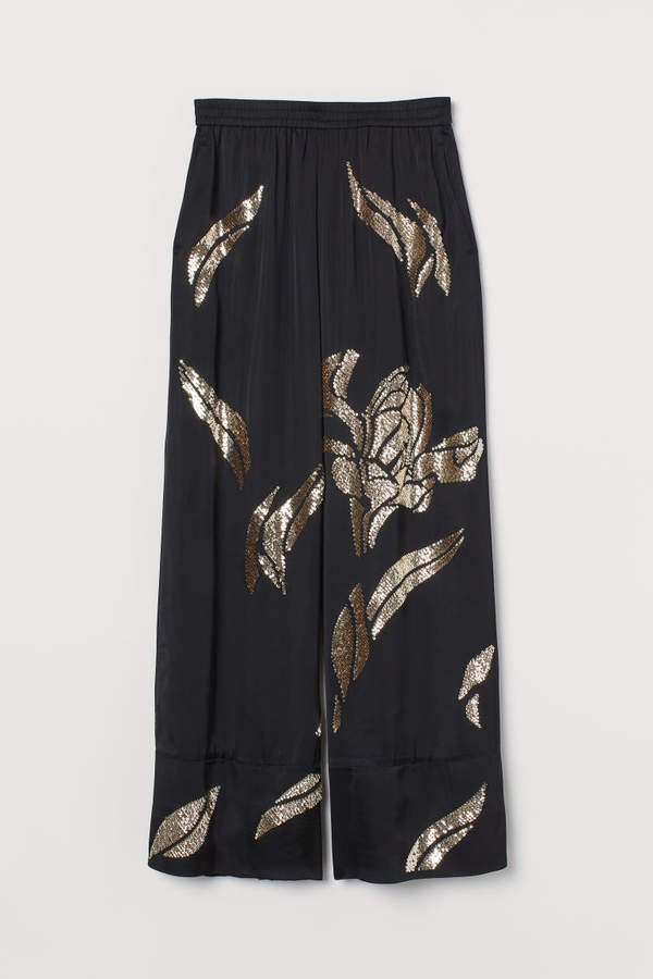 Wide-leg Pants with Sequins - Black