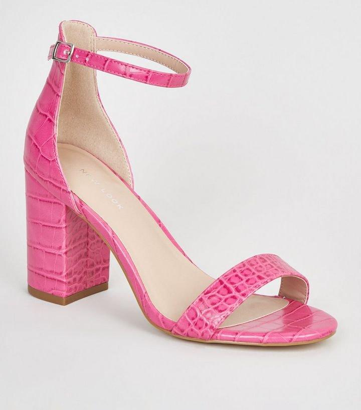 Bright Pink Faux Croc Block Heel Sandals | New Look