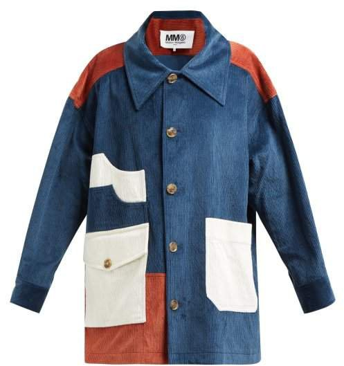 Cotton Blend Corduroy Coat - Womens - Blue Multi