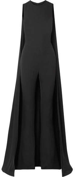Cape-effect Silk-georgette Jumpsuit - Black