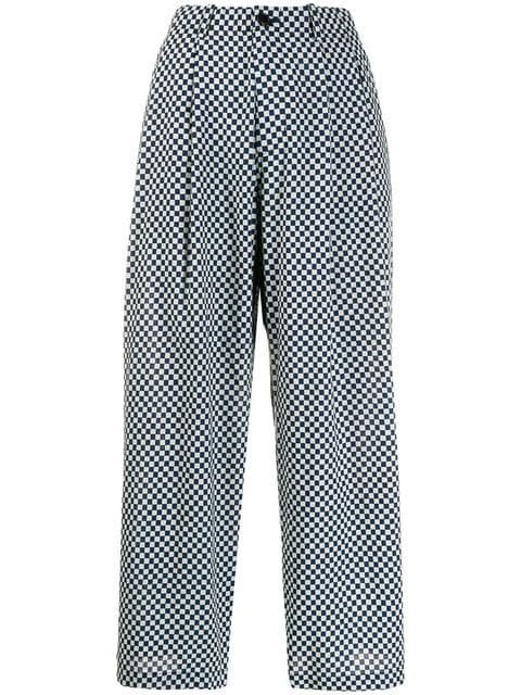 Blue Blue Japan Checkered Flared Trousers - Farfetch