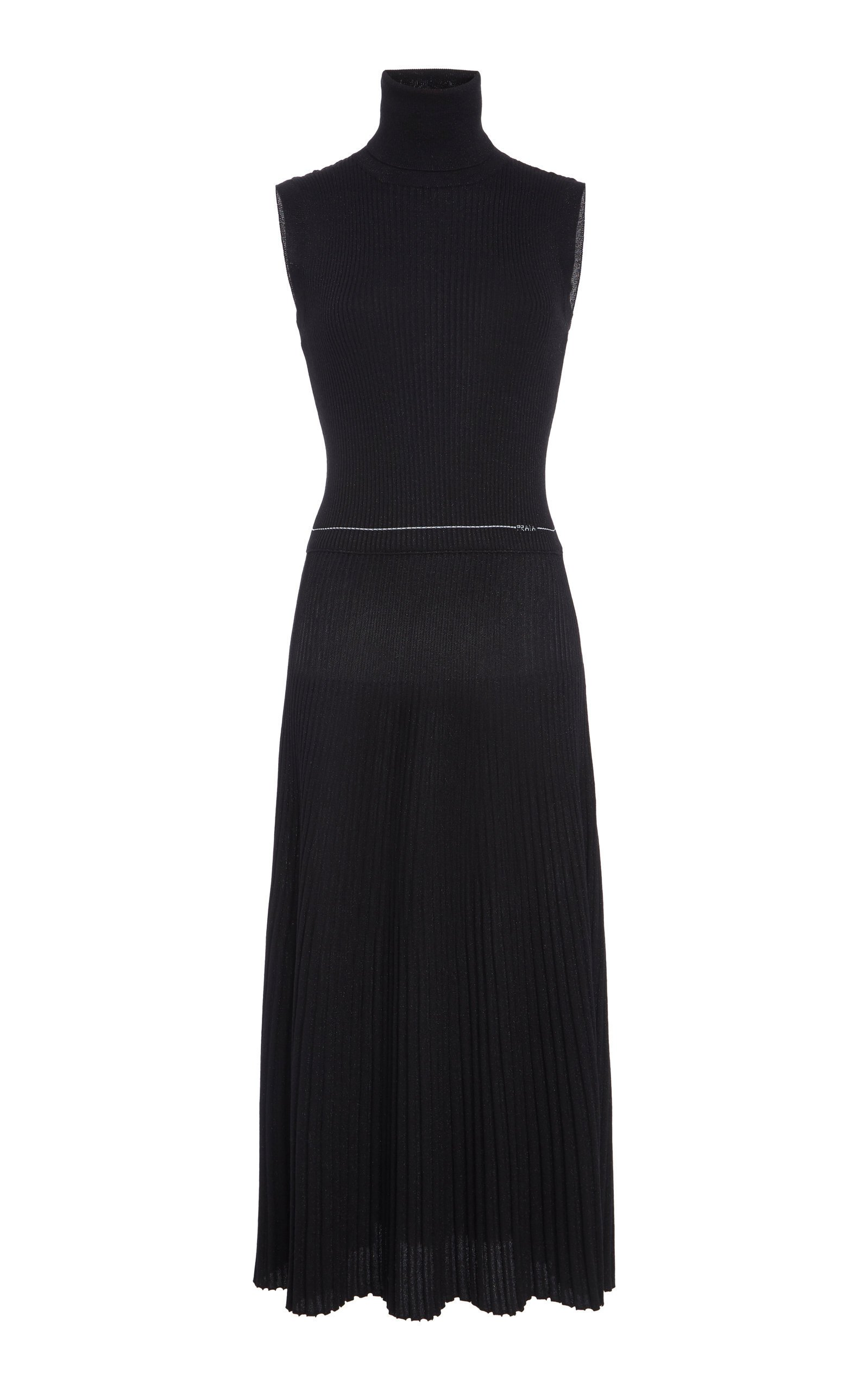 Prada Ribbed Knit Turtleneck Midi Dress