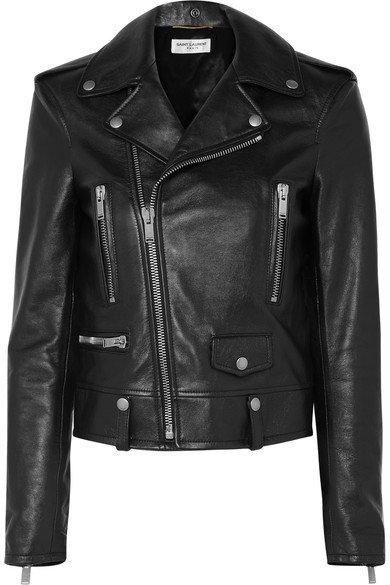 SAINT LAURENT   Printed leather biker jacket   NET-A-PORTER.COM