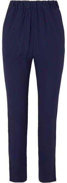 Crepe Straight-leg Pants - Navy