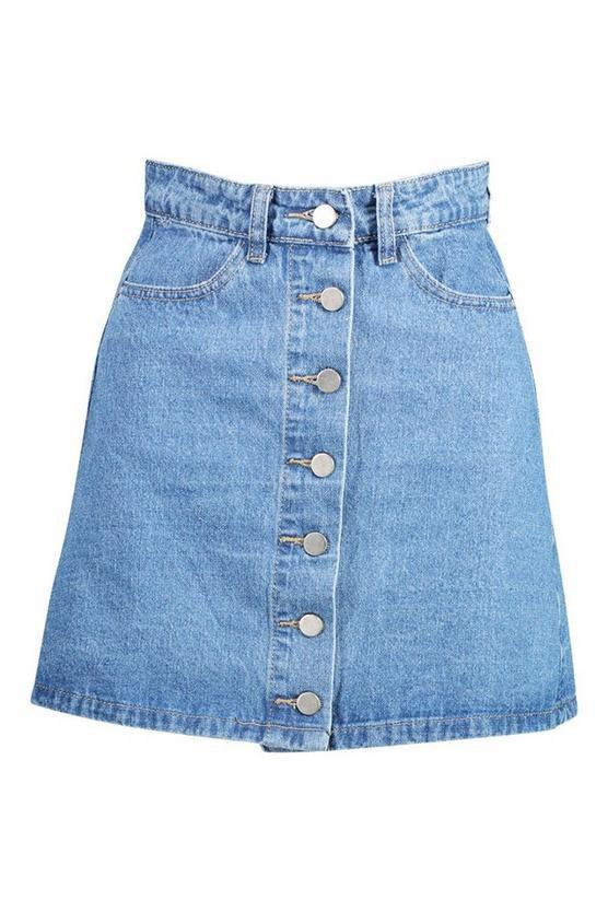 Button Front Denim Mini Skirt | Boohoo blue