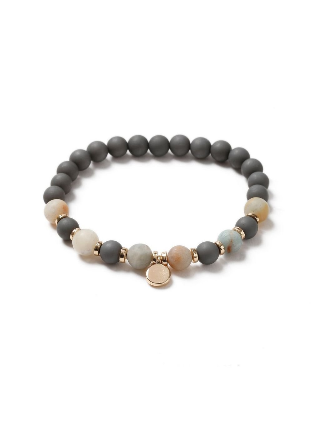 Gray Beaded Stretch Bracelet* - TOPMAN USA
