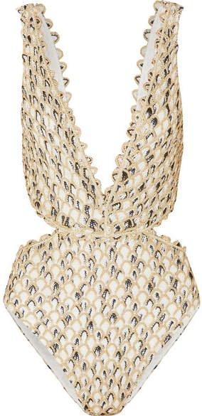 Cutout Metallic Crochet-knit Swimsuit - Gold