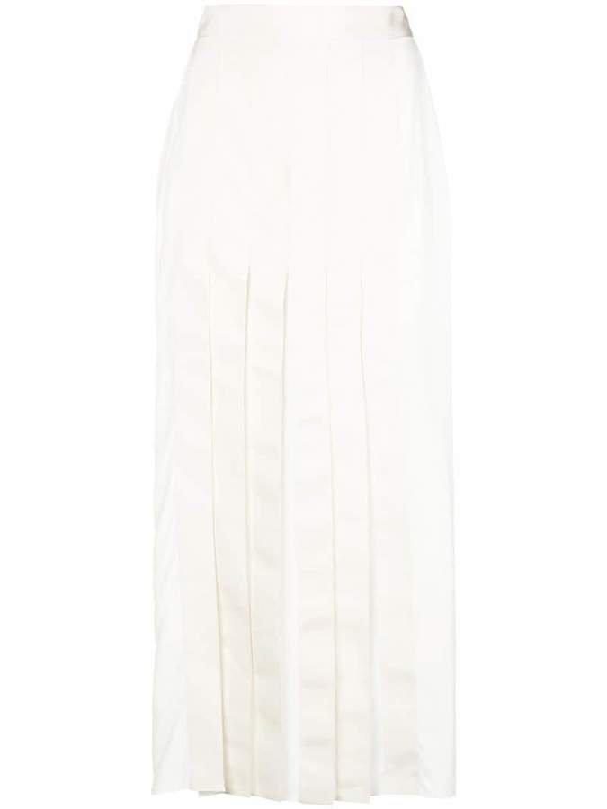pleated flared midi skirt