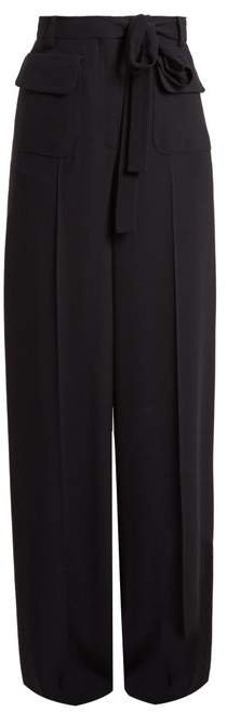 Wide Leg Crepe Trousers - Womens - Navy