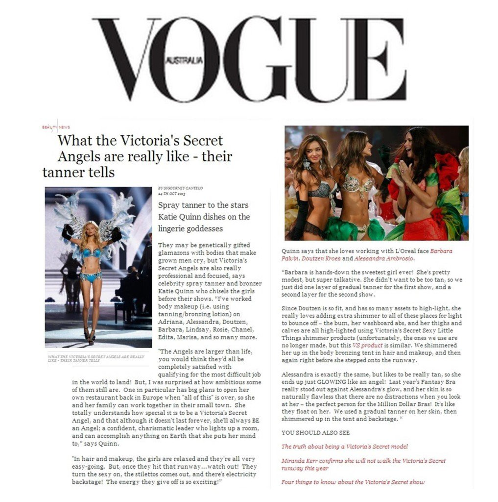 Kona Tanning's Katie Quinn Interviewed By VOGUE On Working With Victoria's Secret Angels