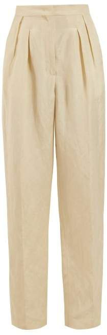 Felicia High Rise Pleated Trousers - Womens - Beige