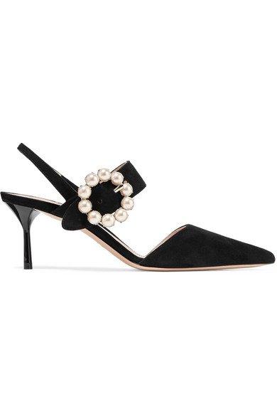 Miu Miu   faux pearl-embellished slingback pumps