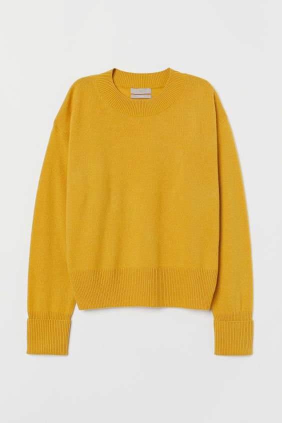 Fine-knit cashmere jumper - Yellow - Ladies | H&M GB
