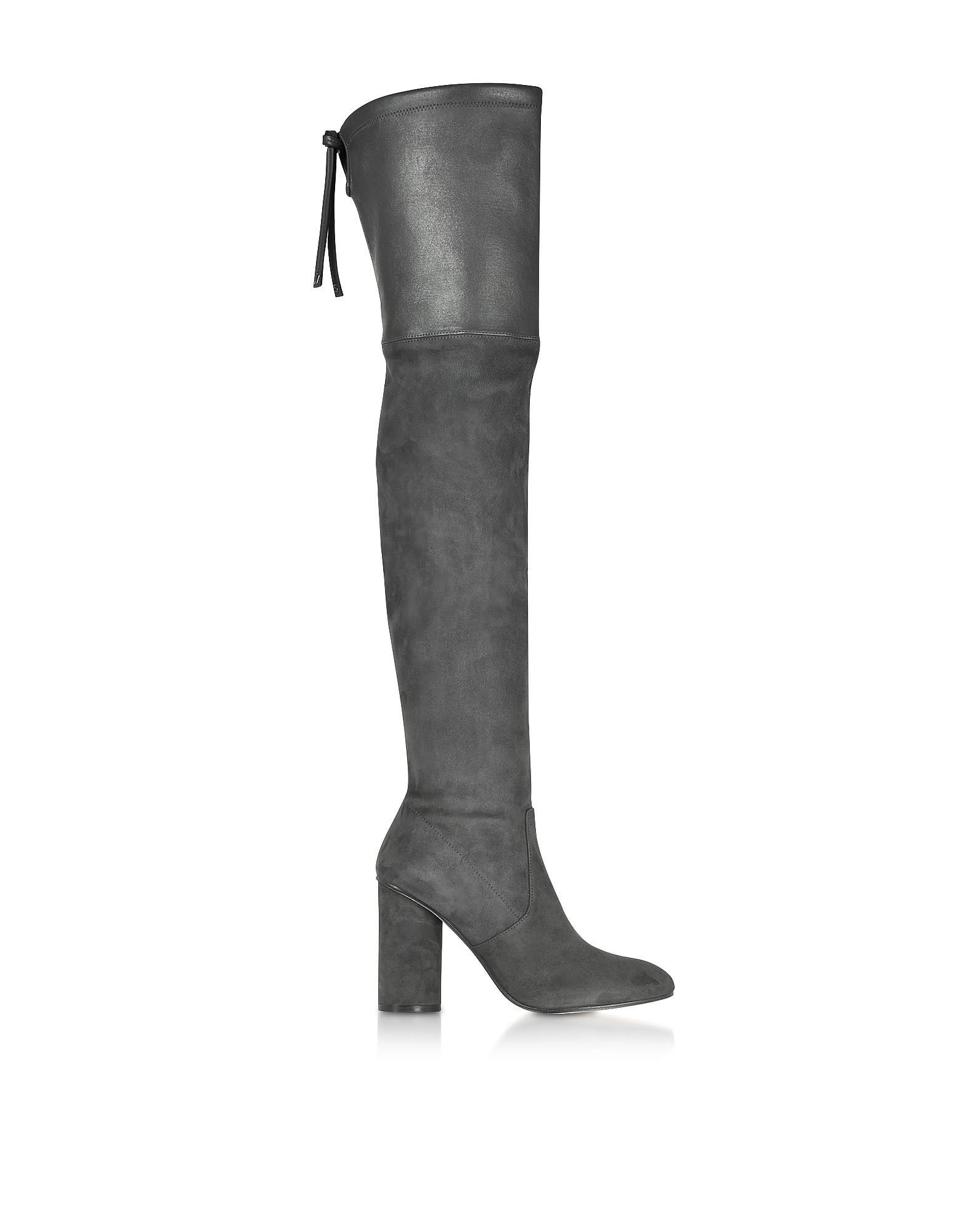 Stuart Weitzman Helena 95 Asphalt Fushion Suede Boots