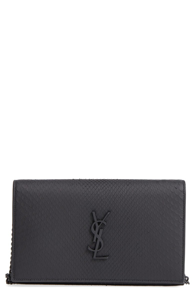 Saint Laurent Monogram Genuine Python Wallet on a Chain | Nordstrom