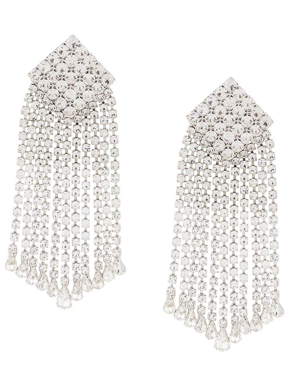 Silver Alessandra Rich Crystal-square Drop Earrings | Farfetch.com