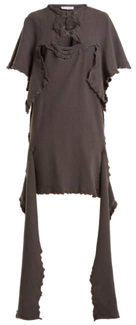 Cut Out Distressed Cotton Jersey Dress - Womens - Dark Grey