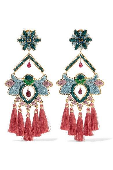 Mercedes Salazar   Tropics tasseled gold-tone beaded clip earrings   NET-A-PORTER.COM
