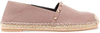 Garavani The Rockstud Double Textured-leather Collapsible-heel Espadrilles - Neutral