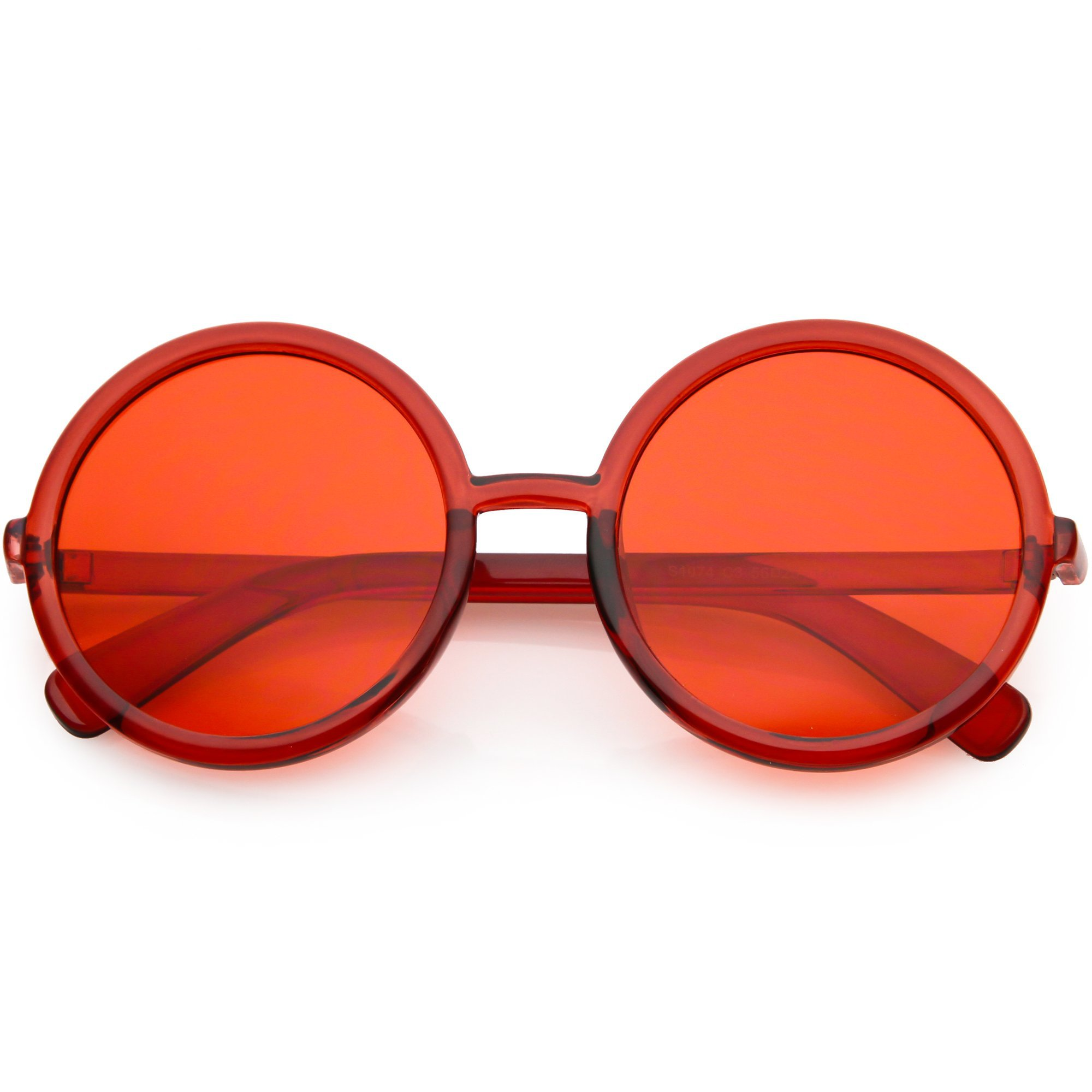 Large Retro Round Circle 1970's Fashion Sunglasses - zeroUV