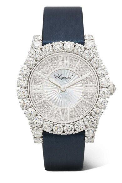 Chopard   L'Heure du Diamant 35.75mm 18-karat white gold, satin, diamond and mother-of-pearl watch   NET-A-PORTER.COM