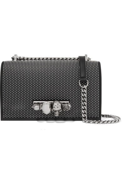 Alexander McQueen | Jewelled Satchel embellished studded leather shoulder bag | NET-A-PORTER.COM