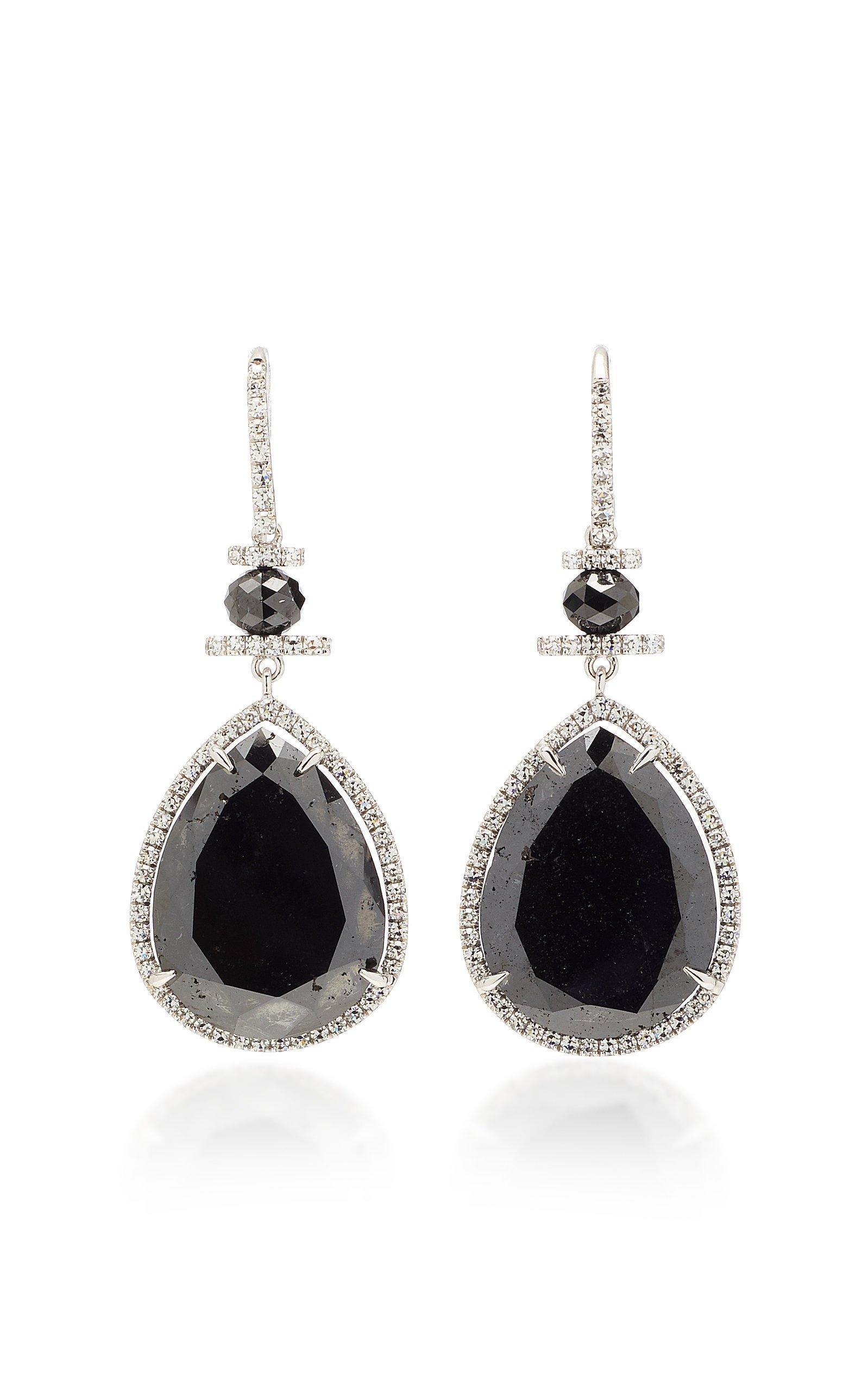 Martin Katz Pear-Shaped Black Diamond Drop Earrings