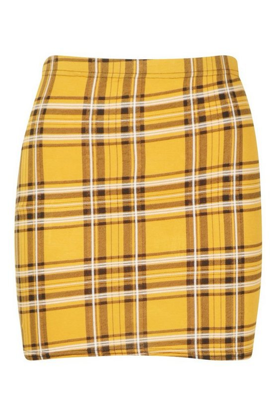 Tartan Check Basic Jersey Mini Skirt | Boohoo yellow