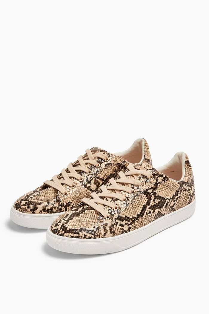 COLA Snakeskin Lace Up Trainers | Topshop