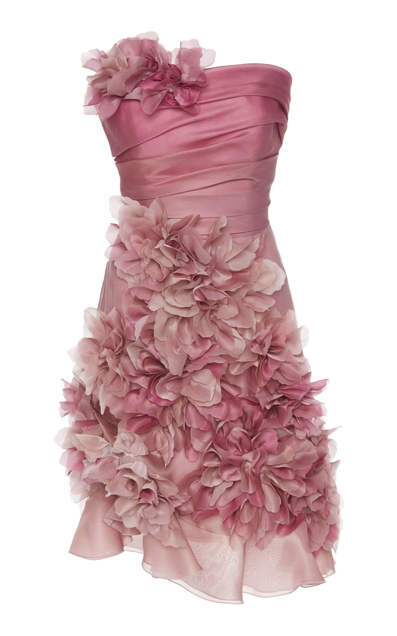 Marchesa Strapless Silk-Organza Mini Dress