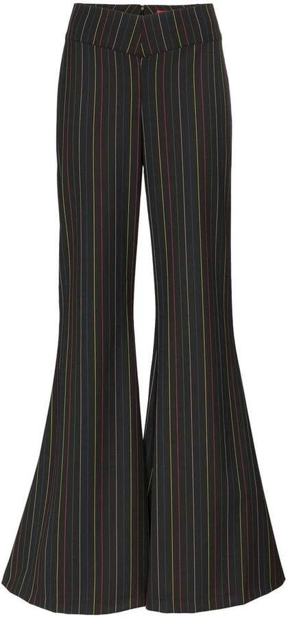 Staud rainbow striped wide flare trousers