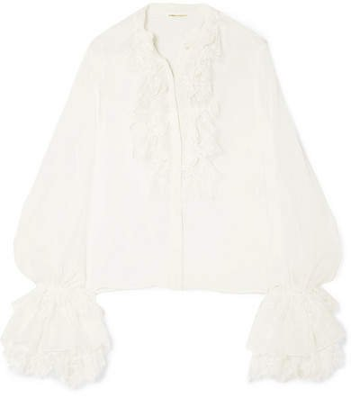 Ruffle And Lace-trimmed Silk-chiffon Blouse - White