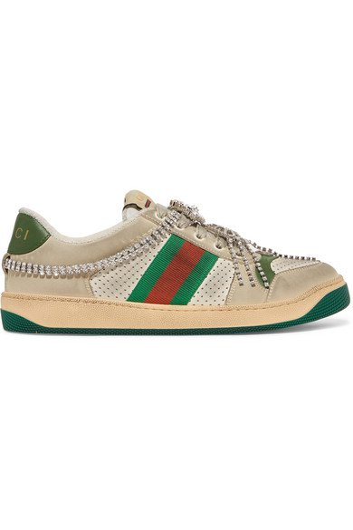 Gucci | Screener embellished canvas-trimmed distressed leather sneakers | NET-A-PORTER.COM