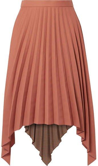 Islie Asymmetric Pleated Woven Midi Skirt - Brick