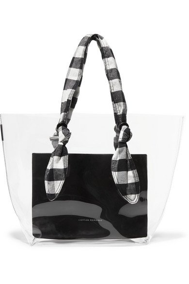 Loeffler Randall | Lydia PVC, leather and gingham canvas tote | NET-A-PORTER.COM