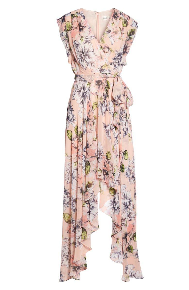 Eliza J Floral Ruffle High/Low Maxi Dress | Nordstrom