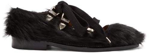 Faux Fur Point Toe Flats - Womens - Black