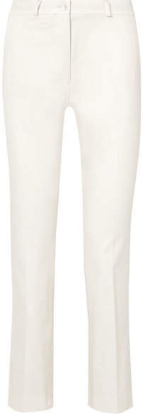 Cropped Cotton-blend Slim-leg Pants - White