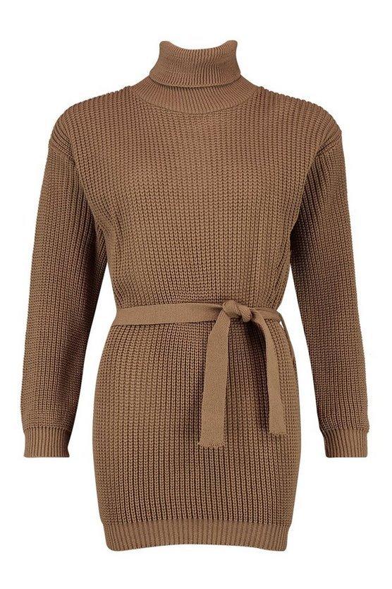 Petite Self Belted Roll Neck Jumper Dress | Boohoo brown