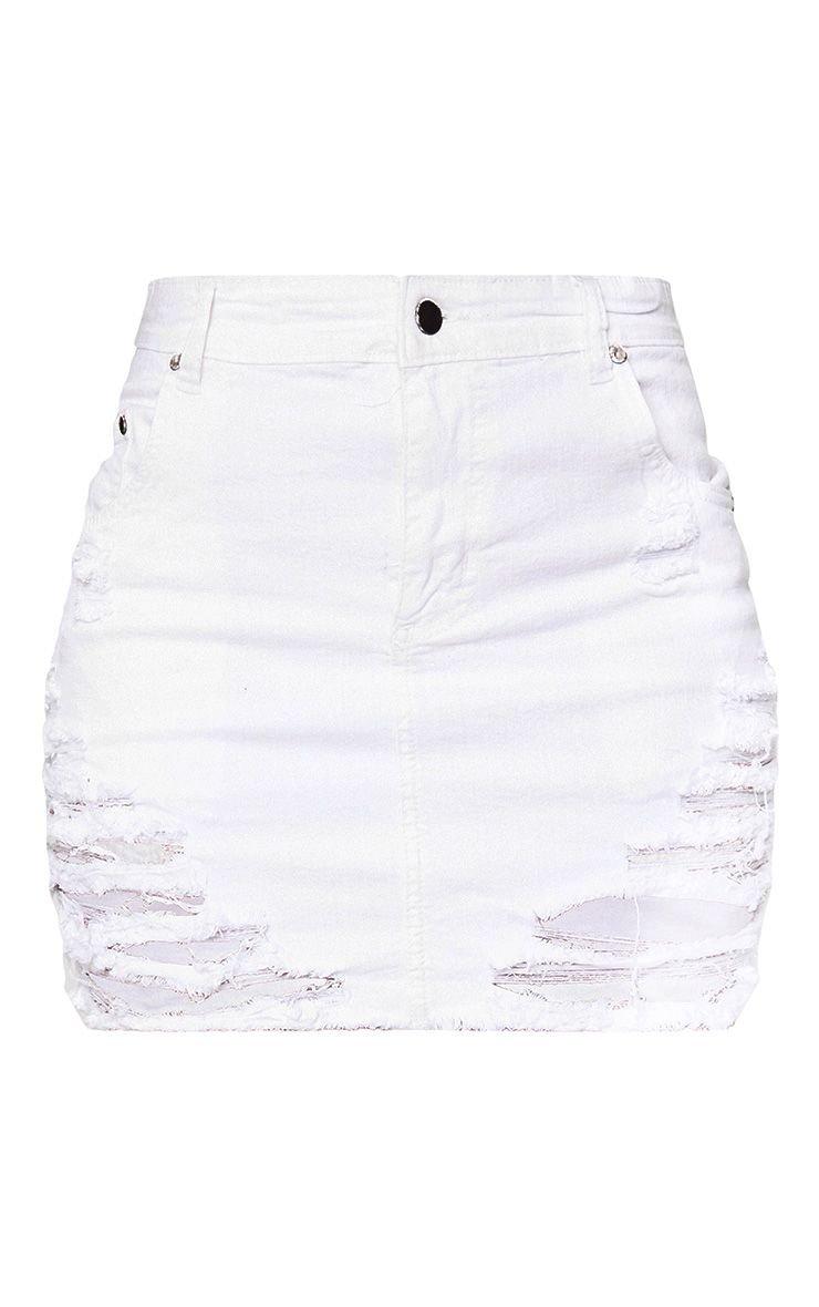 White Super Shred Denim Mini Skirt | PrettyLittleThing USA